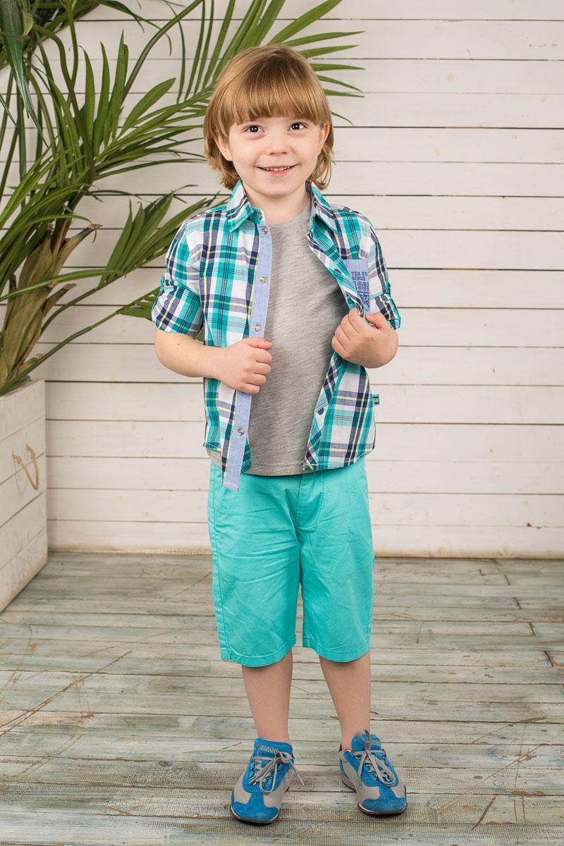 Рубашка для мальчика. 196627196627Стильная рубашка для мальчика Sweet Berry идеально подойдет вашему маленькому мужчине. Изготовленная из натурального хлопка, она мягкая и приятная на ощупь, не сковывает движения и позволяет коже дышать, обеспечивая наибольший комфорт. Рубашка с отложным воротником и короткими рукавами застегивается на кнопки по всей длине. Рукава дополнены декоративными отворотами. По бокам изделия предусмотрены небольшие разрезы. Спереди расположен накладной кармашек, украшенный принтовыми надписями. Модель оформлена принтом в клетку. Дизайн и расцветка делают эту рубашку модным предметом детского гардероба, в ней ребенку будет комфортно и удобно.