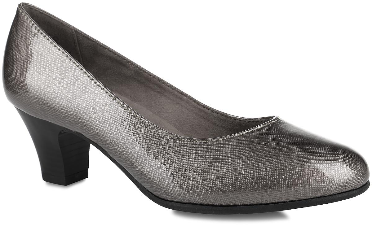 Туфли женские Soft Line. 8-8-22463-27-3448-8-22463-27-344Стильные туфли Soft Line от Jana не оставят равнодушной настоящую модницу! Модель выполнена из искусственной лакированной кожи с фактурной поверхностью. Закругленный носок добавляет женственности. Подкладка из текстиля не натирает. Мягкая стелька из материала ЭВА с текстильной поверхностью обеспечивает максимальный комфорт. Каблук умеренной высоты невероятно устойчив. Каблук и подошва с рифлением обеспечивают идеальное сцепление с любыми поверхностями. Элегантные туфли внесут изысканные нотки в ваш образ и подчеркнут вашу утонченную натуру.