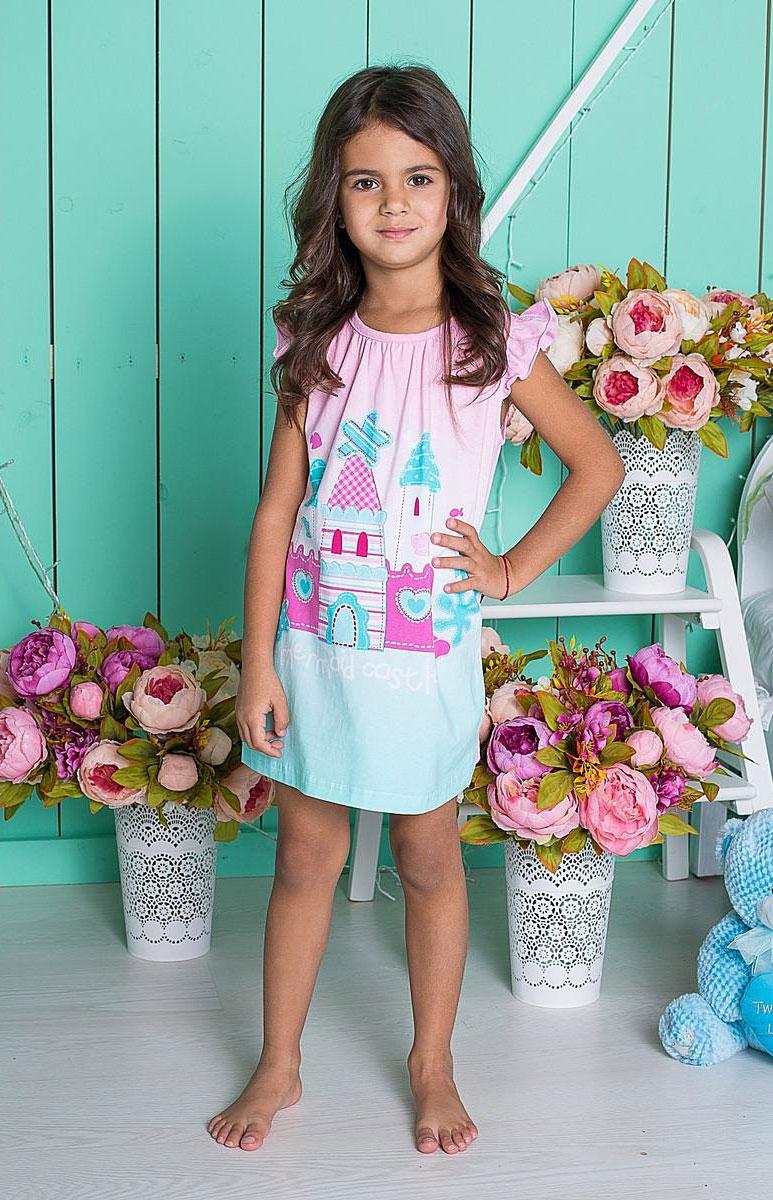 Ночная рубашка для девочки. 195603195603Ночная рубашка из мягкого эластичного трикотажа. Эффект градиентного цветного перехода дополнен ярким принтом.