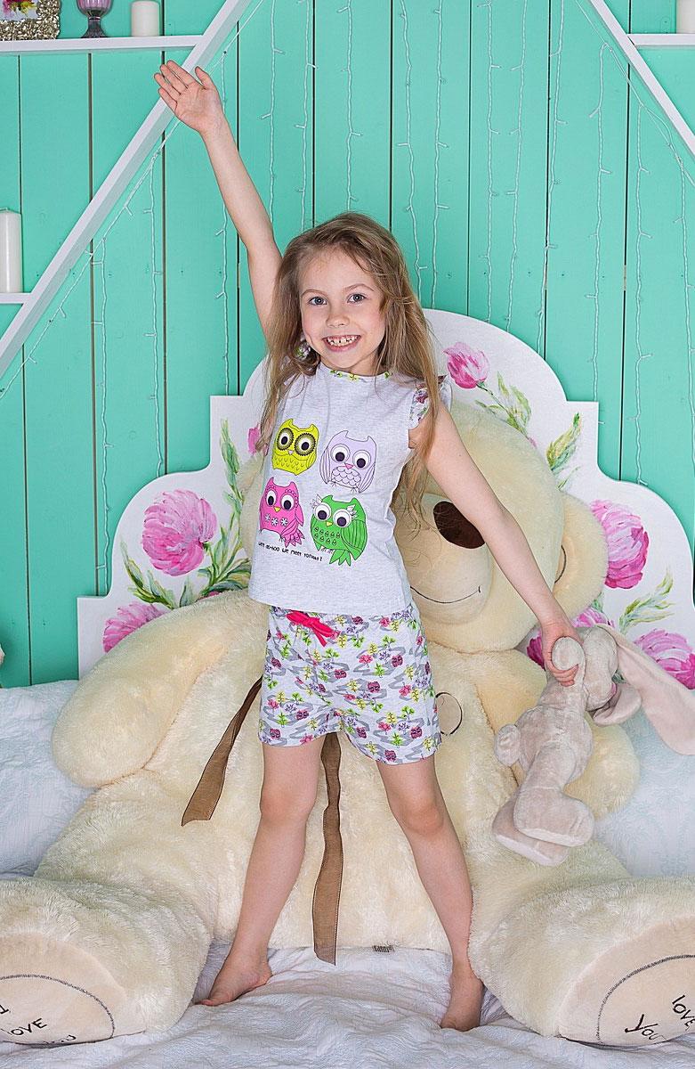 Комплект одежды195946Пижама для девочки с майкой и шортами.