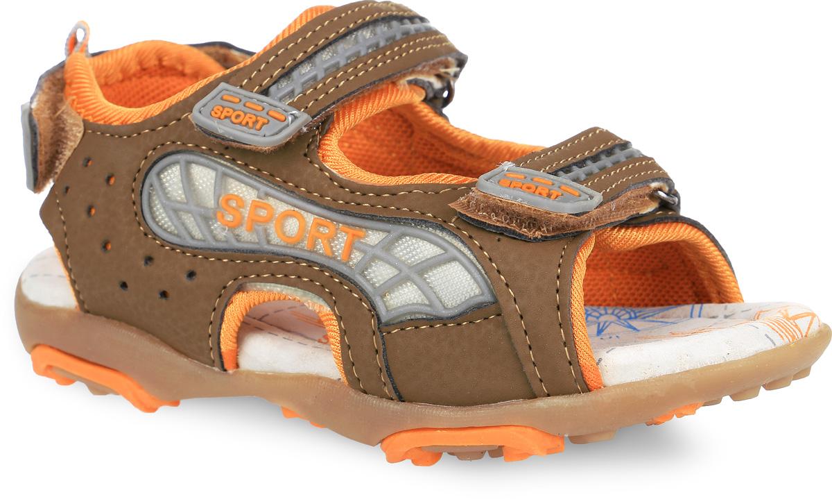 Сандалии для мальчика. 12-20712-207Модные сандалии от Аллигаша приведут в восторг вашего мальчика. Верх модели, выполненный из искусственной кожи и текстиля, дополнен вставкой из ПВХ. Ремешки с застежками- липучками, оформленные декоративными вставками из ПВХ, обеспечивают надежную фиксацию модели на ноге. Внутренняя поверхность из текстиля и стелька из натуральной кожи комфортны при ходьбе. Стелька оснащена супинатором, который обеспечивает правильное положение стопы ребенка при ходьбе и предотвращает плоскостопие. Подошва с рифлением гарантирует отличное сцепление с любой поверхностью. Стильные сандалии - незаменимая вещь в гардеробе каждого мальчика!