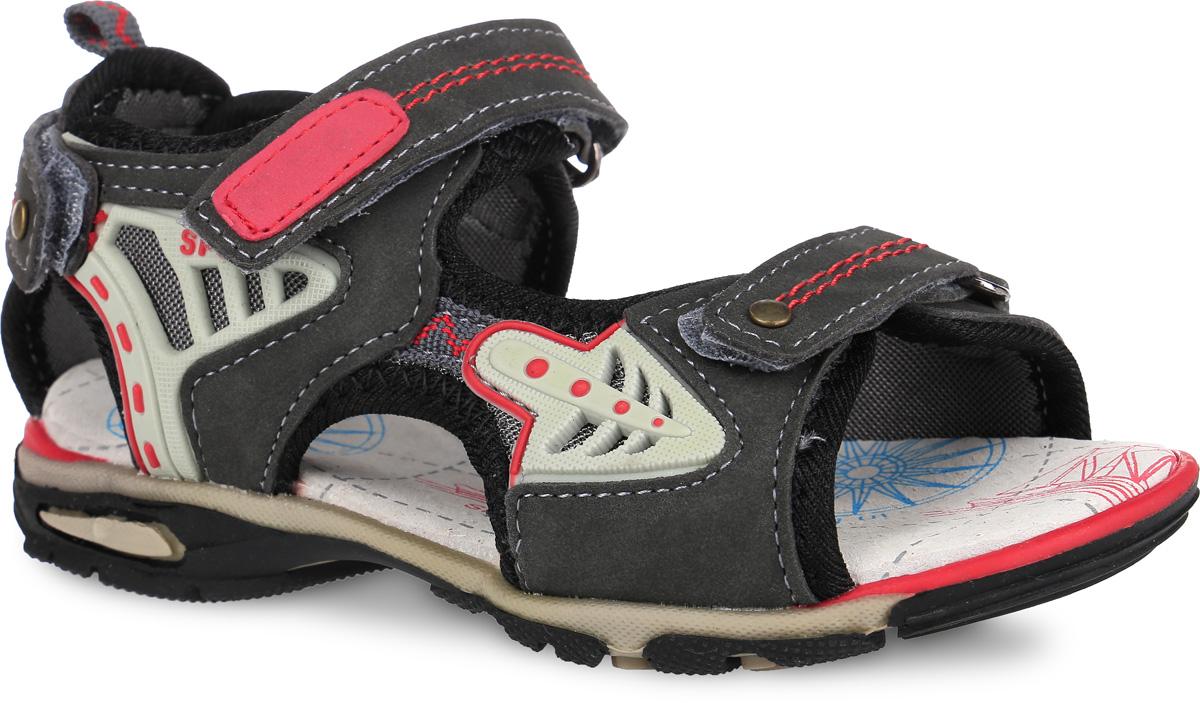 Сандалии для мальчика. 12-20312-203Модные сандалии от Аллигаша приведут в восторг вашего мальчика. Верх модели, выполненный из искусственной кожи, дополнен вставками из текстиля и нашивками из ПВХ. Ремешки с застежками-липучками, оформленные металлическими заклепками и декоративной прострочкой, обеспечивают надежную фиксацию модели на ноге. Внутренняя поверхность из текстиля и стелька из натуральной кожи комфортны при ходьбе. Стелька оснащена супинатором, который обеспечивает правильное положение стопы ребенка при ходьбе и предотвращает плоскостопие. Подошва с рифлением гарантирует отличное сцепление с любой поверхностью. Стильные сандалии - незаменимая вещь в гардеробе каждого мальчика!
