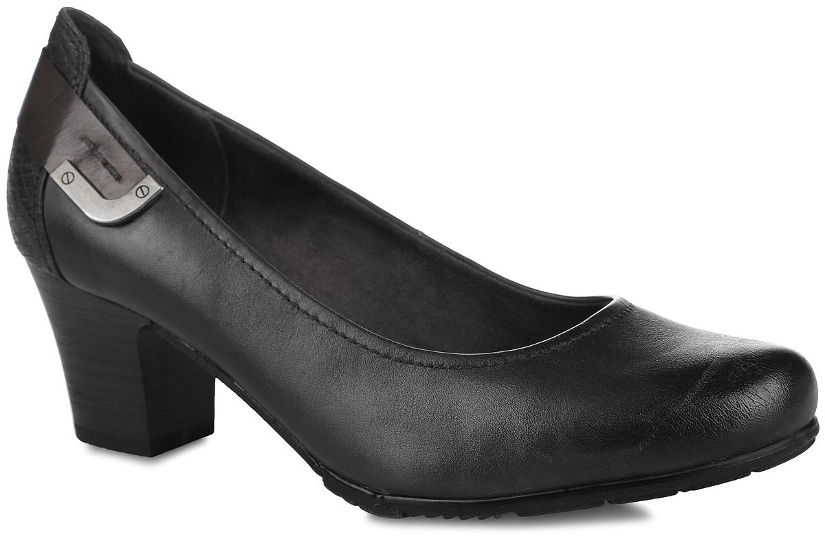 Туфли женские. 8-8-22404-27-2068-8-22404-27-206Стильные туфли от Jana не оставят равнодушной настоящую модницу! Модель выполнена из натуральной и искусственной кожи. Задняя часть модели дополнена вставкой под рептилию и оформлена декоративным ремешком с металлическим элементом. Закругленный носок добавляет женственности. Подкладка из текстиля и искусственного материала не натирает. Стелька из искусственной кожи обеспечивает максимальный комфорт. Каблук умеренной высоты невероятно устойчив. Подошва с технологией Soft Flex легкая и очень гибкая, благодаря использованию специальных материалов и уникальной конструкции. Каблук и подошва с рифлением обеспечивают идеальное сцепление с любыми поверхностями. Элегантные туфли внесут изысканные нотки в ваш образ и подчеркнут вашу утонченную натуру.
