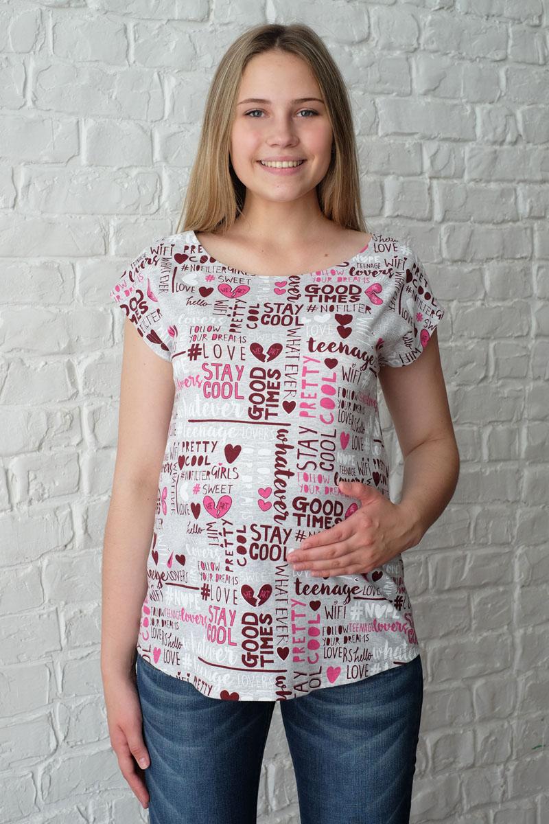 Футболка3-32101Легкая летняя футболка для беременных выполнена из натурального хлопка. Круглый ворот, удобный крой для растущего животика.