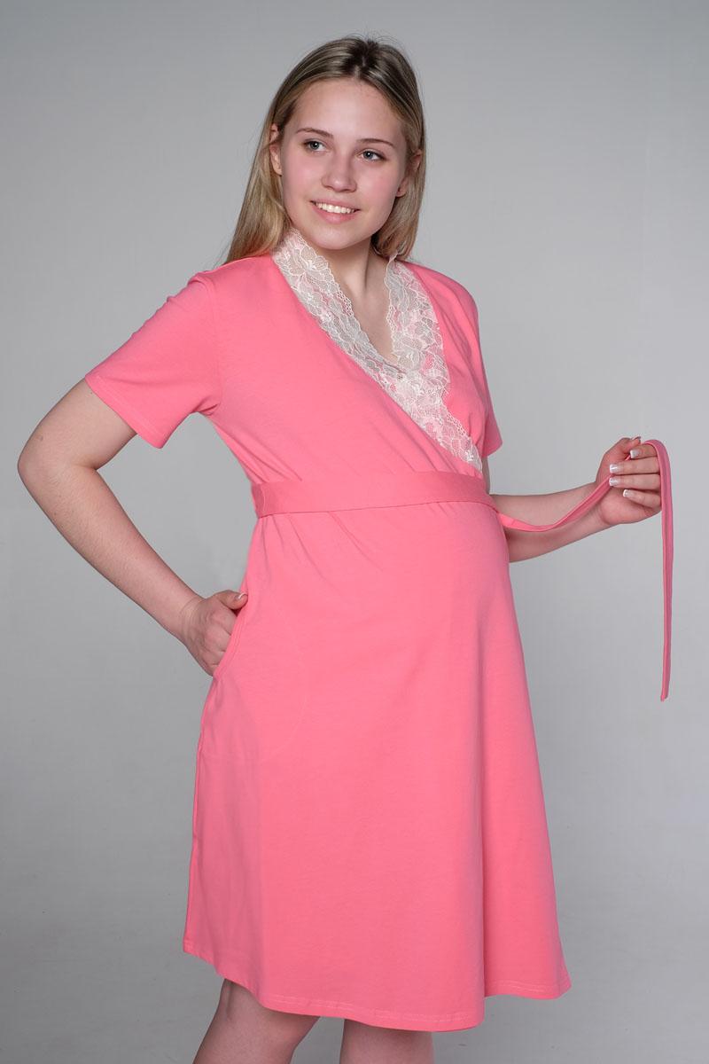 Домашний комплект3-К 06728Комплект состоит из халата и ночной сорочки. Халат с коротким рукавом на запах, на поясе, украшен кружевом. Сорочка с клипсой для кормления.