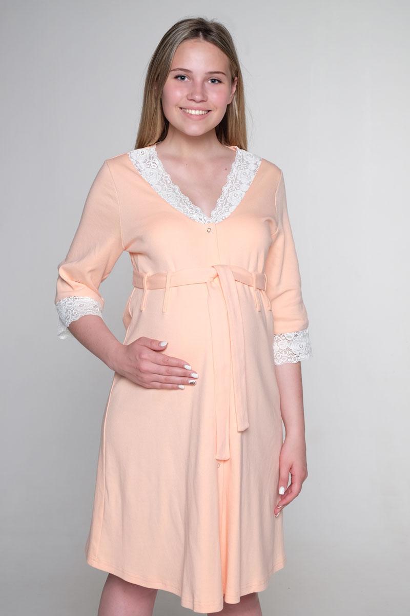 К 02203Чудесный халат выполнен из интерлока с кружевом. Хлястики для пояса выполнены в два ряда, делая эту модель универсальной. Можно носить с большим животиком и после родов.