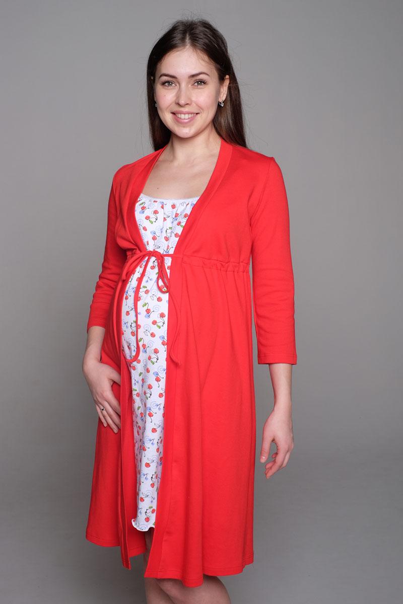 Домашний комплектК 09221Комплект, выполненный из хлопка, состоит из ночной сорочки и халата. Халат-пеньюар трапециевидного силуэта, рукав 3/4. Сорочка на бретели с клипсой для кормления.