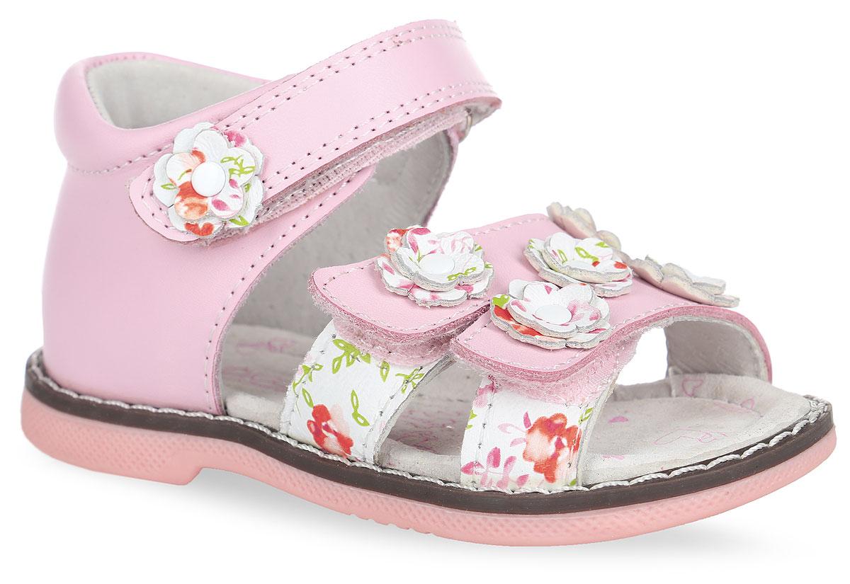 Сандалии для девочки. 21-165A/1221-165A/12Прелестные сандалии от Indigo Kids придутся по душе вашей девочке и идеально подойдут для повседневной носки в летнюю погоду! Модель, выполненная из натуральной кожи, оформлена сбоку цветочным принтом, на ремешках - декоративными цветочками из кожи с цветочным принтом и с металлическими заклепками, вдоль ранта - крупной прострочкой. Ремешки с застежками-липучками обеспечивают надежную фиксацию модели на ноге. Внутренняя поверхность и стелька из натуральной кожи комфортны при ходьбе. Стелька оснащена супинатором, который обеспечивает правильное положение стопы ребенка при ходьбе и предотвращает плоскостопие. Подошва с рифлением гарантирует отличное сцепление с любой поверхностью. Стильные сандалии - незаменимая вещь в гардеробе каждой девочки!