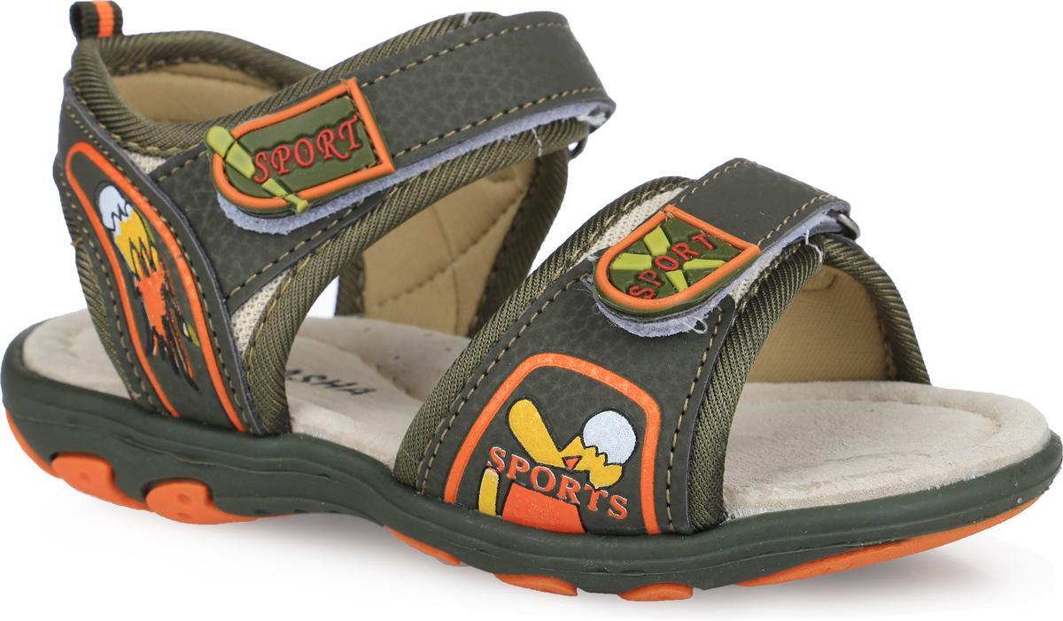 Сандалии для мальчика. 12-20812-208Модные сандалии от Аллигаша придутся по душе вашему мальчику. Модель, выполненная из искусственной кожи и текстиля, оформлена ярким принтом, на ремешках - декоративными нашивками из ПВХ, на заднем ремешке - названием бренда. Ремешки с застежками-липучками обеспечивают надежную фиксацию модели на ноге. Внутренняя поверхность из текстиля не натирает. Стелька из натуральной кожи дополнена супинатором, который обеспечивает правильное положение стопы ребенка при ходьбе и предотвращает плоскостопие. Подошва с рифлением гарантирует отличное сцепление с любой поверхностью. Стильные сандалии - незаменимая вещь в гардеробе каждого мальчика!