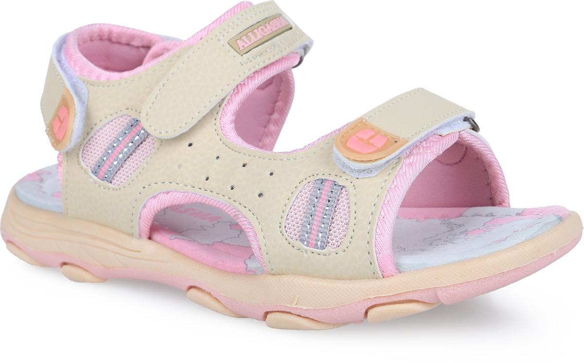Сандалии для девочки. 12-20612-206Модные сандалии от Аллигаша приведут в восторг вашу девочку. Модель, выполненная из искусственной кожи и текстиля, сбоку оформлена перфорацией и декоративной тесьмой, на ремешках - декоративными нашивками из ПВХ. Ремешки с застежками-липучками обеспечивают надежную фиксацию модели на ноге. Внутренняя поверхность из текстиля и стелька из натуральной кожи комфортны при ходьбе. Стелька оснащена супинатором, который обеспечивает правильное положение стопы ребенка при ходьбе и предотвращает плоскостопие. Подошва с рифлением гарантирует отличное сцепление с любой поверхностью. Стильные сандалии - незаменимая вещь в гардеробе каждой девочки!