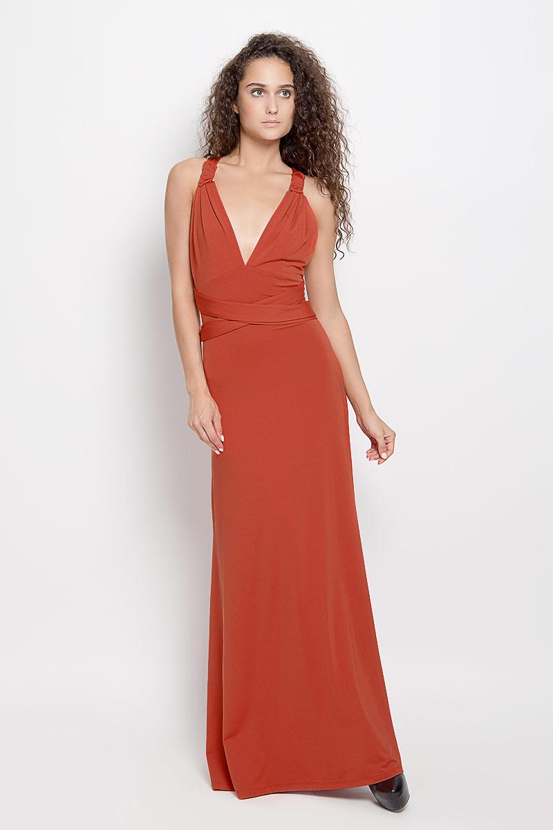 Платье103200_11Стильное платье-макси Ruxara, выполненное из высококачественного комбинированного материала, поможет создать отличный современный образ. Модель-трансформер с глубоким V-образным вырезом горловины дополнена широкими длинными лентами, которые можно завязать различными способами. Такое платье поможет создать яркий и привлекательный образ, в нем вам будет удобно и комфортно.