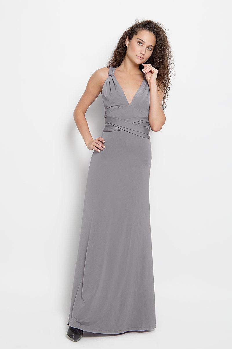 103200_11Стильное платье-макси Ruxara, выполненное из высококачественного комбинированного материала, поможет создать отличный современный образ. Модель-трансформер с глубоким V-образным вырезом горловины дополнена широкими длинными лентами, которые можно завязать различными способами. Такое платье поможет создать яркий и привлекательный образ, в нем вам будет удобно и комфортно.