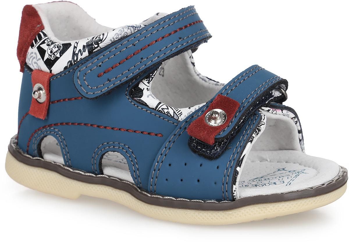 Сандалии для мальчика. 20-187A/1220-187A/12Стильные сандалии от Indigo Kids придутся по душе вашему малышу и идеально подойдут для повседневной носки в летнюю погоду! Модель, выполненная из натуральной кожи, оформлена декоративной строчкой и контрастными вставками. Ремешки с застежками-липучками прочно зафиксируют модель на ножке. Внутренняя поверхность выполнена из натуральной кожи, благодаря чему дарит комфорт. Стелька оснащена супинатором с перфорацией, который обеспечивает правильное положение стопы ребенка при движении и предотвращает плоскостопие. Подошва с рифлением гарантирует отличное сцепление с любой поверхностью. Практичные сандалии - незаменимая вещь в гардеробе малыша!