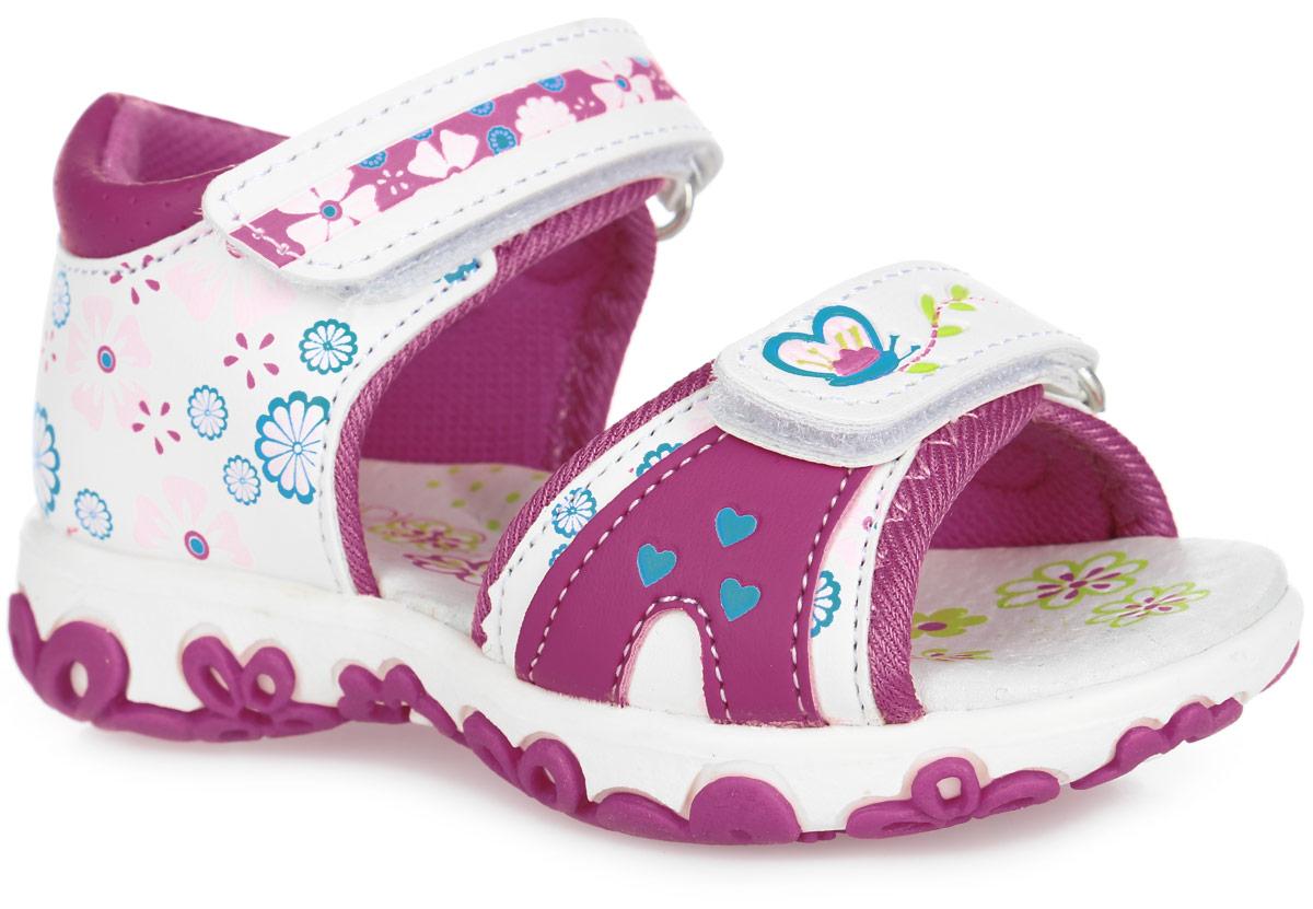 Сандалии для девочки. 22-08422-084A/14Прелестные сандалии от Indigo Kids придутся по душе вашей девочке и идеально подойдут для повседневной носки в летнюю погоду! Модель, выполненная из искусственной кожи и текстиля, оформлена цветочным принтом. Ремешки с застежками-липучками обеспечивают надежную фиксацию модели на ноге. Внутренняя поверхность из текстиля и стелька из натуральной кожи комфортны при ходьбе. Стелька оснащена супинатором, который обеспечивает правильное положение стопы ребенка при ходьбе и предотвращает плоскостопие. Подошва с рифлением гарантирует отличное сцепление с любой поверхностью. Стильные сандалии - незаменимая вещь в гардеробе каждой девочки!