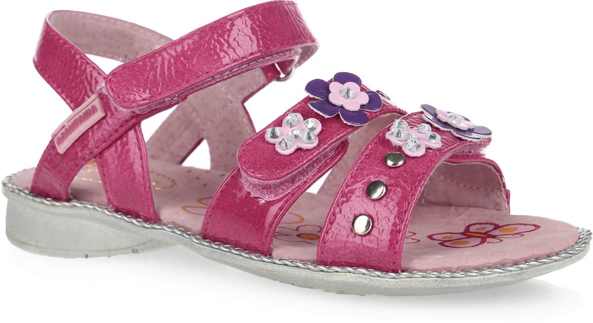 Сандалии для девочки. 12-21712-217Шикарные сандалии от Аллигаша придутся по душе юной моднице и идеально подойдут для повседневной носки в летнюю погоду. Модель изготовлена из искусственной лакированной кожи и оформлена на передних ремешках декоративными цветочками, украшенными стразами, и металлическими заклепками. Внутренняя поверхность и стелька из натуральной кожи комфортны при движении. Стелька дополнена супинатором, который обеспечивает правильное положение стопы ребенка при ходьбе и предотвращает плоскостопие. Ремешок с застежкой-липучкой обеспечивает надежную фиксацию модели на ноге. Подошва с рифлением гарантирует отличное сцепление с любой поверхностью. Стильные сандалии - незаменимая вещь в гардеробе каждой девочки!