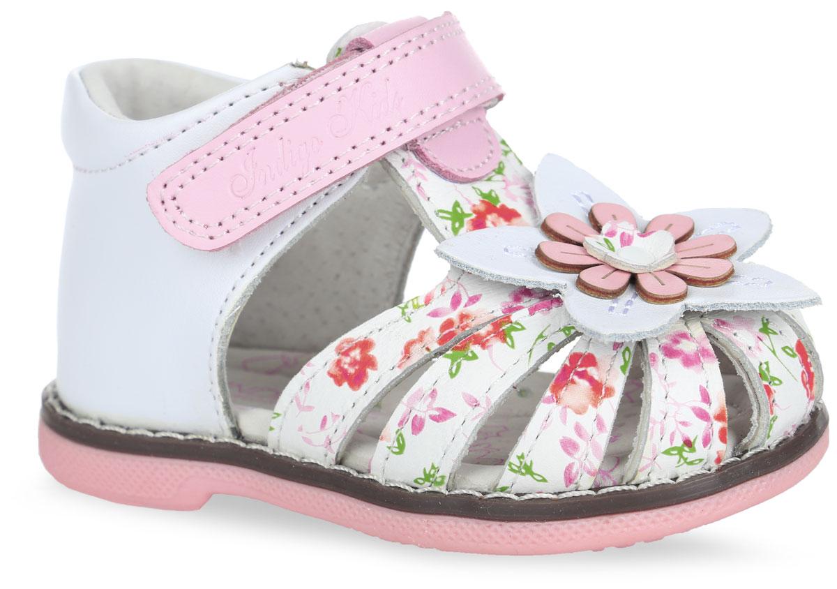 Сандалии для девочки. 20-19620-196A/12Прелестные сандалии от Indigo Kids придутся по душе вашей девочке и идеально подойдут для повседневной носки в летнюю погоду! Модель, выполненная из натуральной кожи, оформлена цветочным принтом, на мысе - декоративным цветком, вдоль ранта - крупной прострочкой. Ремешок с застежкой-липучкой, оформленный фирменным тиснением, обеспечивает надежную фиксацию модели на ноге. Внутренняя поверхность и стелька из натуральной кожи комфортны при ходьбе. Стелька оснащена супинатором, который обеспечивает правильное положение стопы ребенка при ходьбе и предотвращает плоскостопие. Подошва с рифлением гарантирует отличное сцепление с любой поверхностью. Стильные сандалии - незаменимая вещь в гардеробе каждой девочки!