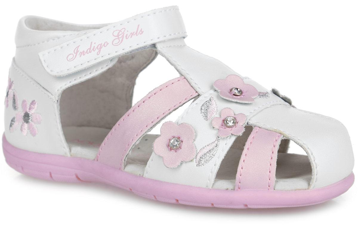 Сандалии20-211A/12Прелестные сандалии от Indigo Kids придутся по душе вашей девочке и идеально подойдут для повседневной носки в летнюю погоду! Модель, выполненная из искусственной кожи, оформлена нашивками в виде цветов, украшенными стразами и вышивкой в виде цветочков и листочков. Ремешок с застежкой-липучкой, оформленный названием бренда, обеспечивает надежную фиксацию модели на ноге. Внутренняя поверхность и стелька из натуральной кожи комфортны при ходьбе. Стелька оснащена супинатором, который обеспечивает правильное положение стопы ребенка при ходьбе и предотвращает плоскостопие. Подошва с рифлением гарантирует отличное сцепление с любой поверхностью. Стильные сандалии - незаменимая вещь в гардеробе каждой девочки!