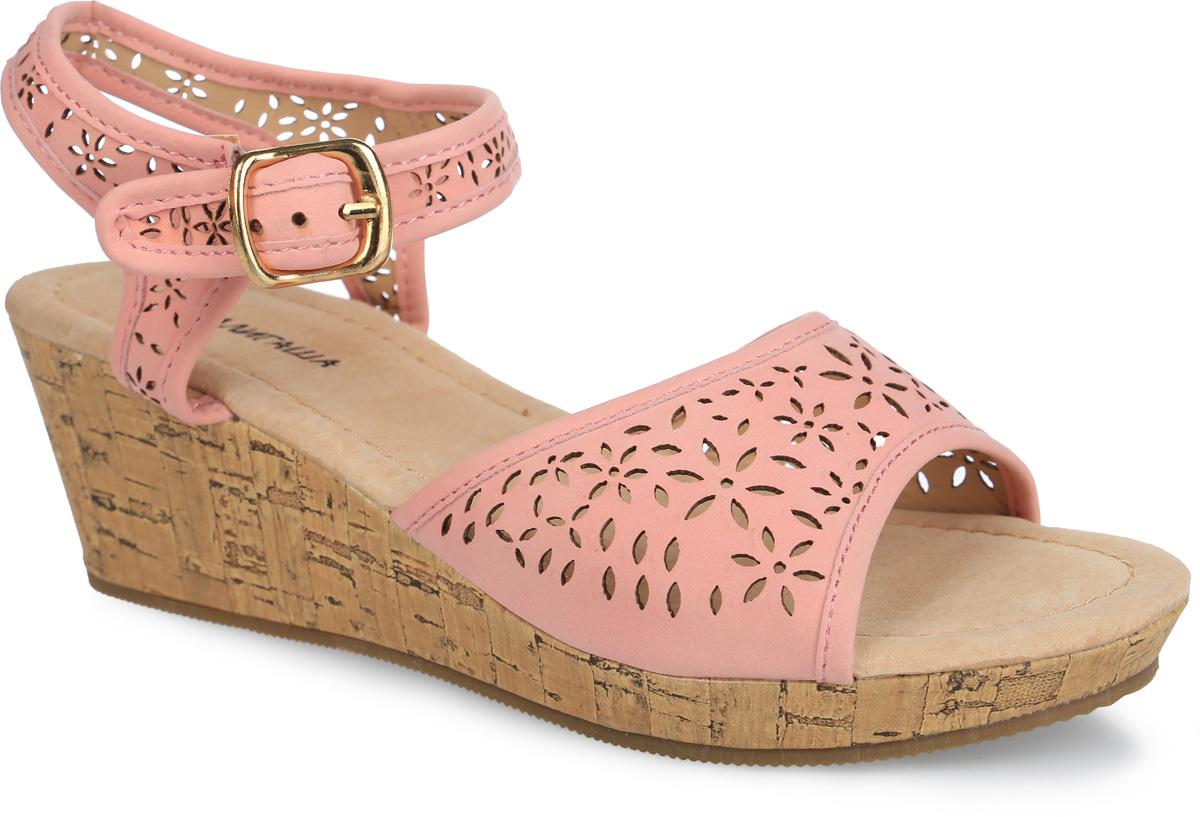 90Прелестные босоножки от Аллигаша придутся по душе вашей девочке и идеально подойдут для повседневной носки в летнюю погоду! Модель выполнена из искусственной кожи и оформлена декоративной перфорацией. Ремешок с металлический пряжкой обеспечивает надежную фиксацию модели на ноге. Внутренняя поверхность и стелька из натуральной кожи комфортны при ходьбе. Небольшой танкетка, стилизованная под дерево, невероятно устойчива. Подошва с рифлением гарантирует отличное сцепление с любой поверхностью. Стильные босоножки - незаменимая вещь в гардеробе каждой девочки!