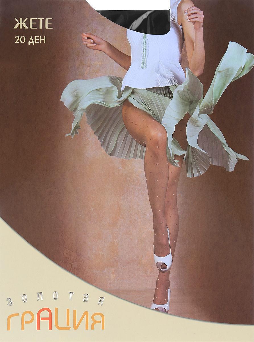 Колготки женские ЖетеЖете 20Элегантные колготки с заниженной линией талии и пастельным рисунком в виде нежного горошка по всей ноге. Дополнительные плюсы - плоские швы и ластовица из хлопка. 20 den.