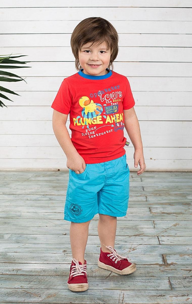 Футболка для мальчика. 196128196128Яркая футболка для мальчика Sweet Berry идеально подойдет вашему маленькому непоседе. Изготовленная из хлопка с небольшим добавлением эластана, она необычайно мягкая и приятная на ощупь, не сковывает движения и позволяет коже дышать, не раздражает даже самую нежную и чувствительную кожу ребенка, обеспечивая ему наибольший комфорт. Футболка с круглым вырезом горловины оформлена веселым принтом с фактурными надписями на английском языке. Вырез горловины дополнен контрастной трикотажной эластичной резинкой. Современный дизайн и расцветка делают эту футболку стильным предметом детского гардероба. В ней ваш ребенок будет чувствовать себя уютно и комфортно и всегда будет в центре внимания!