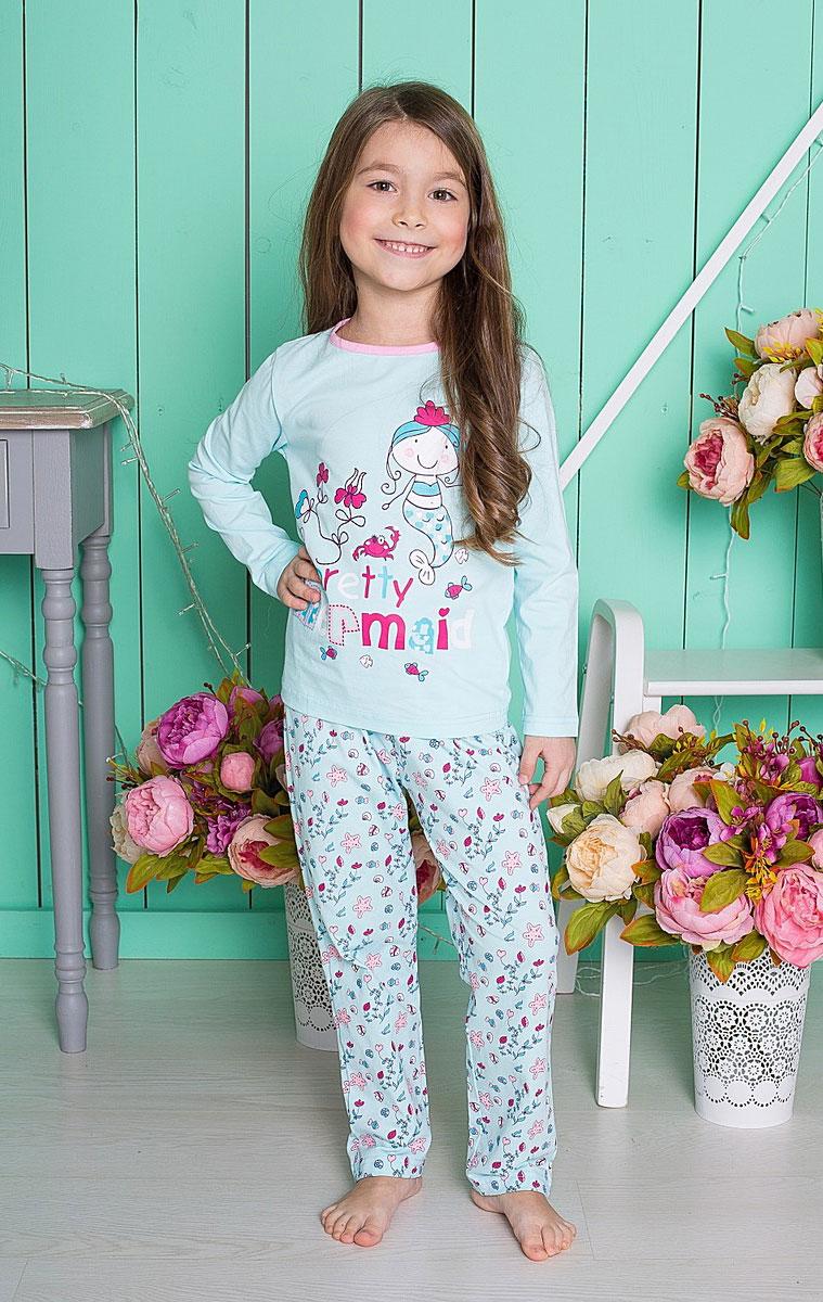 195600Пижама для девочки, футболка с длинным рукавом украшена принтом, брюки из принтованной ткани.