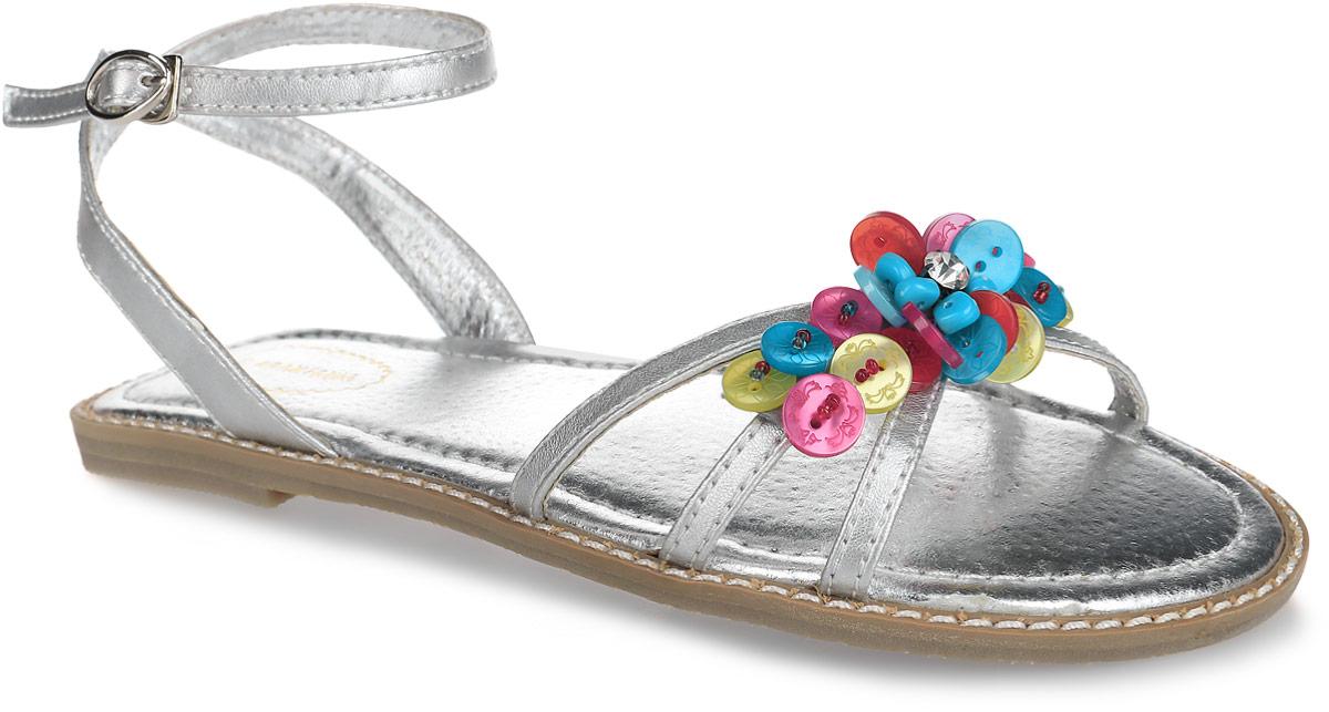 Сандалии для девочки. 12-21412-214Шикарные сандалии от Аллигаша придутся по душе юной моднице и идеально подойдут для повседневной носки в летнюю погоду. Модель изготовлена из искусственной кожи и оформлена яркой, разноцветной фурнитурой в виде пуговиц, бисера и страза, вдоль ранта - крупной прострочкой. Подкладка и стелька из натуральной кожи комфортны при движении. Ремешок с металлической пряжкой, застегивающийся на крючок, обеспечивает надежную фиксацию модели на ноге. Подошва с рифлением гарантирует отличное сцепление с любой поверхностью. Стильные сандалии - незаменимая вещь в гардеробе каждой девочки!