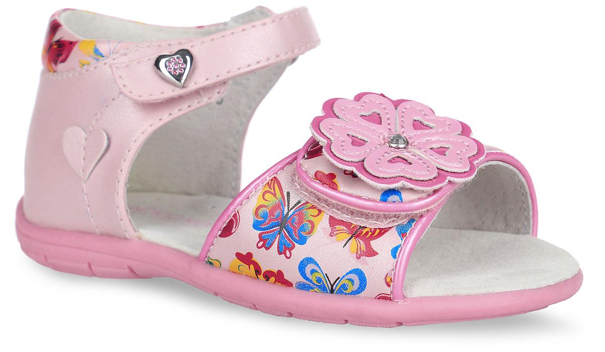 Сандалии для девочки. 21-16121-161A/12Прелестные сандалии от Indigo Kids придутся по душе вашей девочке и идеально подойдут для повседневной носки в летнюю погоду! Модель, выполненная из искусственной и натуральной кожи, оформлена принтом в виде бабочек, на переднем ремешке - декоративным цветком, украшенным крупным стразом, на верхнем ремешке - металлическим элементом в виде сердца со стразами, сбоку - нашивкой в виде сердца. Ремешки с застежками-липучками обеспечивают надежную фиксацию модели на ноге. Внутренняя поверхность и стелька из натуральной кожи комфортны при ходьбе. Стелька оснащена супинатором, который обеспечивает правильное положение стопы ребенка при ходьбе и предотвращает плоскостопие. Подошва с рифлением гарантирует отличное сцепление с любой поверхностью. Стильные сандалии - незаменимая вещь в гардеробе каждой девочки!
