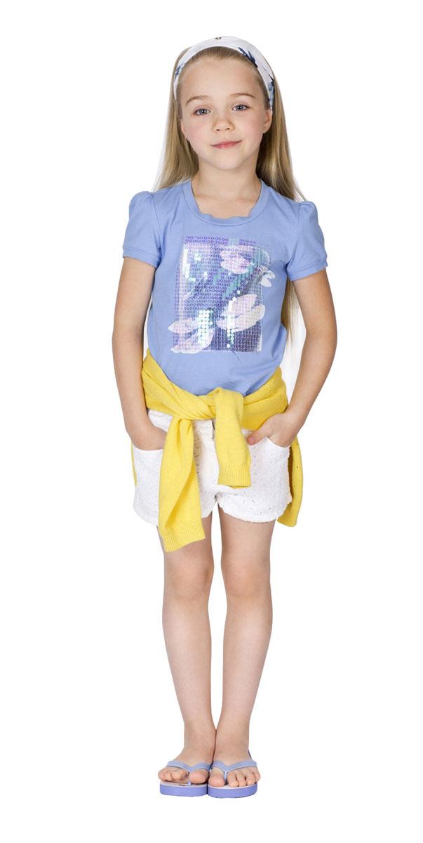 Футболка11602GMC1204Футболка для девочки Gulliver Голубая стрекоза сделает образ ребенка ярким и оригинальным. Изготовленная из эластичного хлопка, она мягкая и приятная на ощупь, не сковывает движения и позволяет коже дышать, обеспечивая комфорт. Футболка трапециевидного силуэта с круглым вырезом горловины и короткими рукавами-фонариками оформлена эффектным принтом с изображением стрекоз, расшитым сияющими пайетками. Спинка модели удлинена. Стильный дизайн и высокое качество исполнения принесут удовольствие от покупки и подарят отличное настроение!