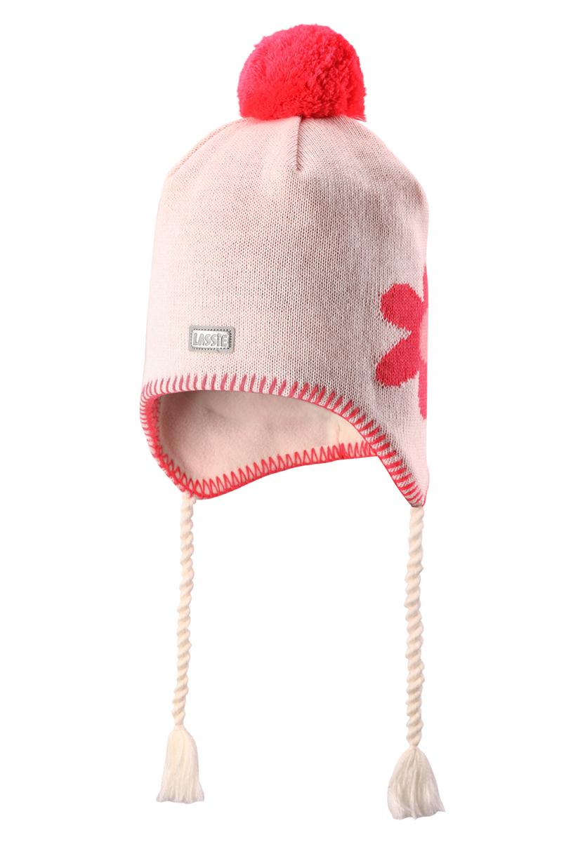 Шапка детская728698-0110Эта красивая детская шапка незаменима в холодные зимние дни! Гладкая флисовая подкладка очень приятна на ощупь и обеспечивает дополнительное утепление. Ветронепроницаемые вставки в области ушей защищают ушки от холодного ветра, а светоотражающая эмблема Lassie позволяет лучше разглядеть ребенка в темное время суток. Красивый помпон и украшение в виде цветка дополняет образ!