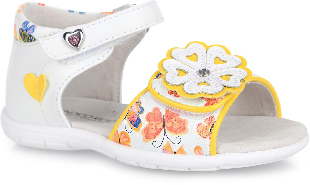 21-161A/12Прелестные сандалии от Indigo Kids придутся по душе вашей девочке и идеально подойдут для повседневной носки в летнюю погоду! Модель, выполненная из искусственной и натуральной кожи, оформлена принтом в виде бабочек, на переднем ремешке - декоративным цветком, украшенным крупным стразом, на верхнем ремешке - металлическим элементом в виде сердца со стразами, сбоку - нашивкой в виде сердца. Ремешки с застежками-липучками обеспечивают надежную фиксацию модели на ноге. Внутренняя поверхность и стелька из натуральной кожи комфортны при ходьбе. Стелька оснащена супинатором, который обеспечивает правильное положение стопы ребенка при ходьбе и предотвращает плоскостопие. Подошва с рифлением гарантирует отличное сцепление с любой поверхностью. Стильные сандалии - незаменимая вещь в гардеробе каждой девочки!