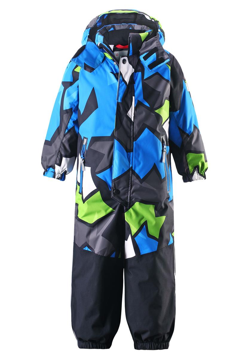 Комбинезон утепленный520187B_3711Комбинезон Reima Reimatec Kiekko со средней степенью утепления станет отличным дополнением к детскому гардеробу. Комбинезон изготовлен из водонепроницаемой и ветрозащитной мембранной ткани. Благодаря специальной обработке полиуретаном поверхность изделия отталкивает грязь и воду, что облегчает поддержание аккуратного вида одежды. В нижней задней части комбинезона предусмотрен более плотный материал, который гарантирует прочность. Укрепленные части брючин не имеют внутренних швов, поэтому они особенно прочные и водонепроницаемые. Все швы проклеены для обеспечения максимальной защиты от воды. Дышащий материал изделия обеспечивает дополнительный комфорт. В качестве утеплителя используется полиэстер. Комбинезон легко надевается и удобно носится благодаря гладкой подкладке из полиэстера. Комбинезон с капюшоном, воротником-стойкой и рукавами-реглан застегивается на пластиковую молнию с защитой подбородка. Модель дополнительно оснащена двумя ветрозащитными планками. Внешняя...