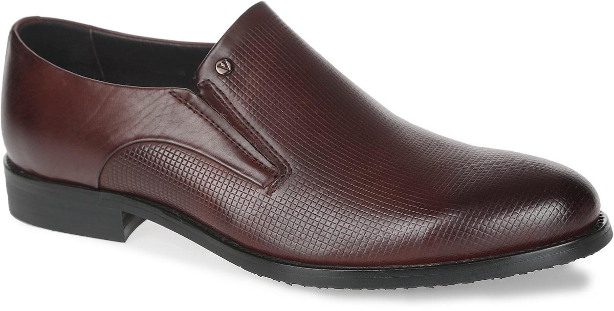M23688Стильные мужские туфли от Vitacci придутся вам по душе. Модель изготовлена из натуральной кожи и оформлена декоративным тиснением. Эластичные вставки по бокам обеспечивают идеальную посадку модели на ноге. Внутренняя поверхность из натуральной кожи предотвращает натирание. Стелька из натуральной кожи позволит ногам дышать. Рифление на подошве и каблуке гарантирует идеальное сцепление с любой поверхностью. Стильные туфли - необходимая вещь в гардеробе каждого мужчины.