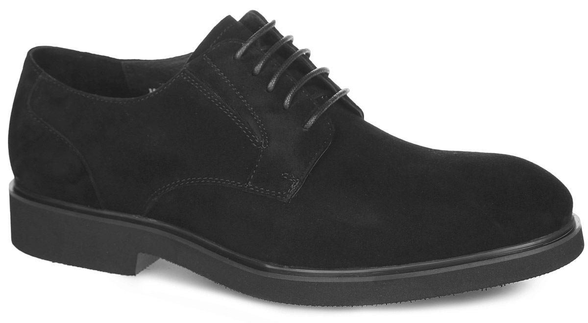 M25089Стильные мужские туфли от Vitacci придутся вам по душе. Модель изготовлена из натуральной замши. Подъем дополнен шнуровкой, которая надежно зафиксирует обувь на вашей ноге. Подкладка из натуральной кожи предотвращает натирание. Стелька из натуральной кожи позволит ногам дышать. Эластичные вставки по бокам обеспечивают идеальную посадку модели на ноге. Рифление на подошве гарантирует идеальное сцепление с любой поверхностью. Стильные туфли - необходимая вещь в гардеробе каждого мужчины.
