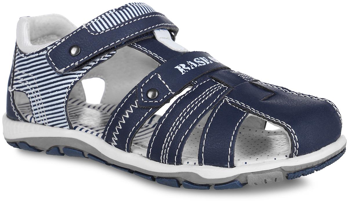 Сандалии для мальчика. 20-225A/1220-225A/12Стильные сандалии от Indigo Kids придутся по душе вашему мальчику и идеально подойдут для повседневной носки в летнюю погоду! Модель, выполненная из искусственной кожи, оформлена полосатым принтом, контрастной строчкой и надписью Base 05 . Ремешок с застежкой-липучкой прочно закрепит модель на ножке вашего малыша. Внутренняя поверхность выполнена из натуральной кожи, благодаря чему дарит комфорт при ходьбе. Стелька оснащена супинатором с перфорацией, который обеспечивает правильное положение стопы ребенка при движении и предотвращает плоскостопие. Подошва с рифлением гарантирует отличное сцепление с любой поверхностью. Практичные сандалии - незаменимая вещь в гардеробе каждого модника!