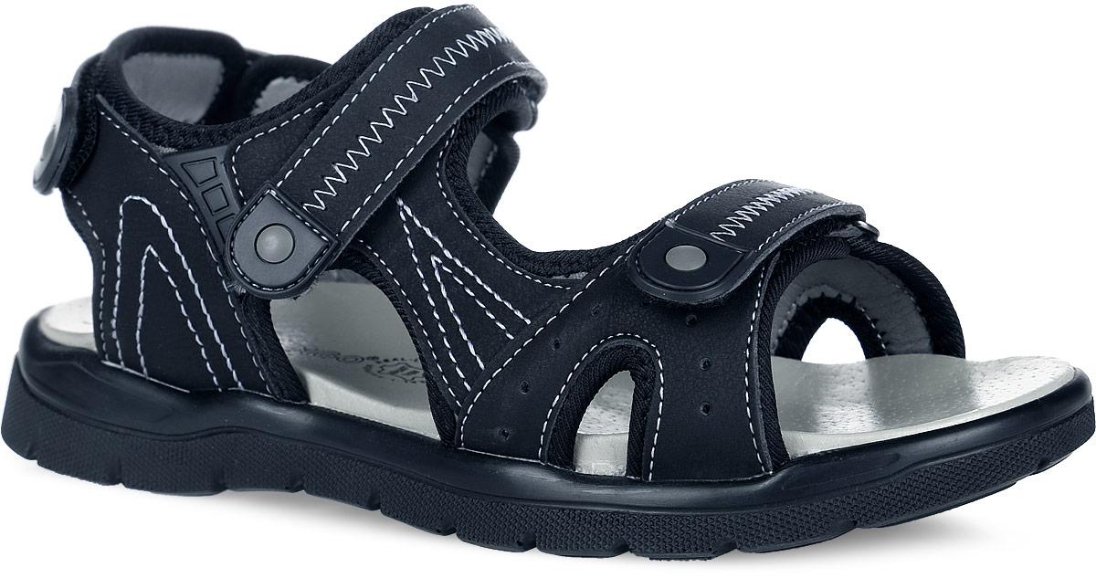 Сандалии61-DS114Стильные и практичные сандалии от Flamingo придутся по душе вашему ребенку! Модель, выполненная из искусственной кожи, оформлена контрастной прострочкой и нашивками из ПВХ. Ремешки на застежках-липучках отвечают за надежную фиксацию модели на ноге. Подкладка из искусственной кожи и стелька из натуральной кожи гарантируют комфорт и уют при движении. Подошва с рифлением обеспечивает идеальное сцепление с любыми поверхностями. Удобные сандалии - необходимая вещь в гардеробе каждого ребенка.