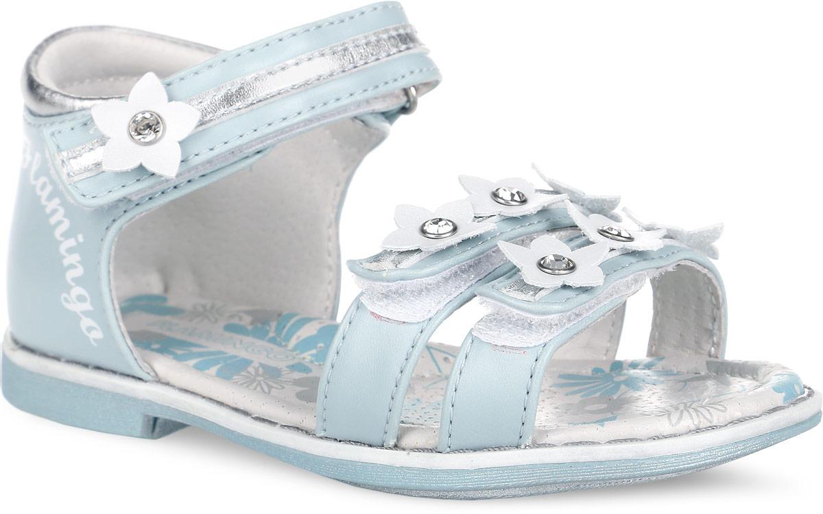 Сандалии для девочки. 61-QS12261-QS122Стильные сандалии от Flamingo придутся по душе вашей моднице! Модель, выполненная из искусственной, оформлена декоративными цветочками, украшенными стразами, и названием бренда на тыльной стороне. Полужесткий закрытый задник и ремешки на застежках-липучках отвечают за надежную фиксацию модели на ноге. Мягкая стелька с поверхностью из натуральной кожи дополнена супинатором с перфорацией, который гарантирует правильное положение ноги ребенка при ходьбе и предотвращает плоскостопие. Подошва с рифлением обеспечивает идеальное сцепление с любыми поверхностями. Удобные сандалии - необходимая вещь в гардеробе каждого ребенка.