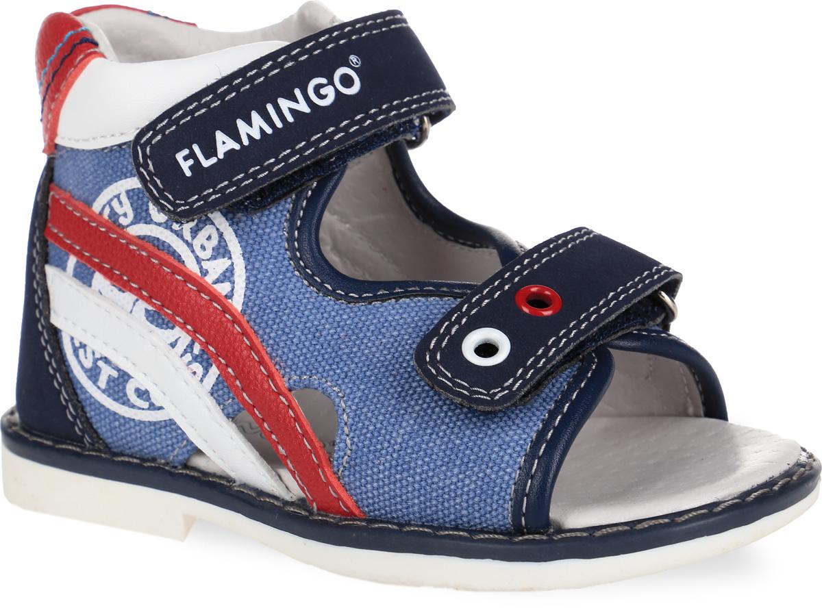 Сандалии для мальчика. 61-XS16161-XS161Стильные сандалии от Flamingo придутся по душе вашему мальчику! Модель выполнена из искусственной кожи и текстиля. Обувь оформлена декоративной прострочкой, контрастными нашивками, на ремешках - тисненым названием бренда и люверсами. Вдоль ранта изделие оформлено крупной прострочкой. Полужесткий закрытый задник и два ремешка на застежках-липучках отвечают за надежную фиксацию модели на ноге. Мягкая стелька из ЭВА материала с поверхностью из натуральной кожи дополнена супинатором с перфорацией, который гарантирует правильное положение ноги ребенка при ходьбе и предотвращает плоскостопие. Подошва с рифлением обеспечивает идеальное сцепление с любыми поверхностями. Удобные сандалии - необходимая вещь в гардеробе каждого ребенка.