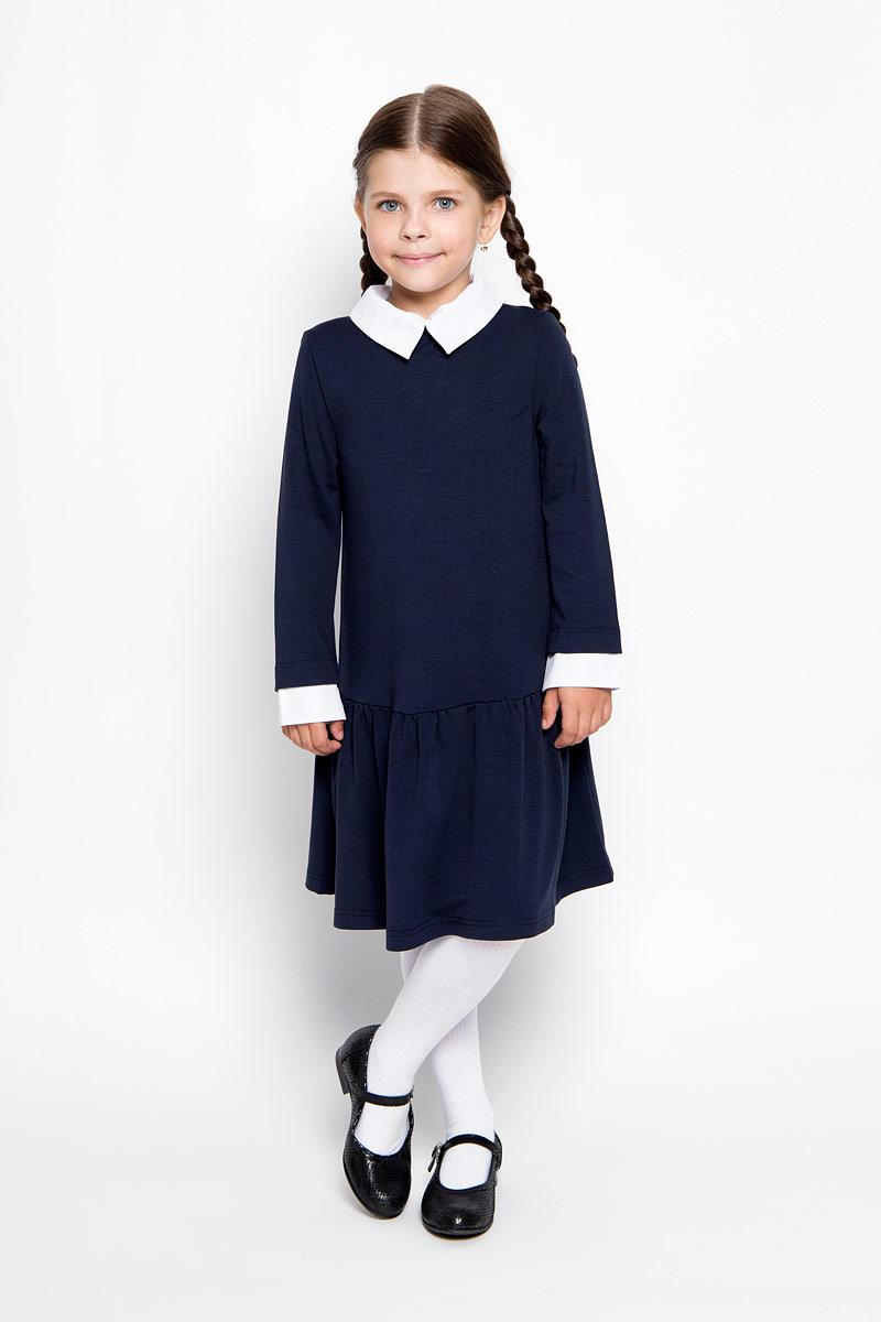 64135_OLG,вариант 1Очаровательное платье для девочки Orby School идеально подойдет вашей малышке. Платье выполнено из эластичной вискозы с добавлением полиэстера, оно необычайно мягкое и эластичное, не сковывает движения малышки, великолепно отводит влагу от тела и не раздражает даже самую нежную и чувствительную кожу ребенка, обеспечивая наибольший комфорт. Платье-миди с длинными рукавами и отложным воротником застегивается на застежку-молнию на спинке. Рукава дополнены контрастными манжетами. Пришивная юбка платья оформлена небольшими складками. Оригинальный современный дизайн и модная расцветка делают это платье великолепным дополнением школьного гардероба. В нем ваша малышка будет чувствовать себя уютно и комфортно и всегда будет в центре внимания!