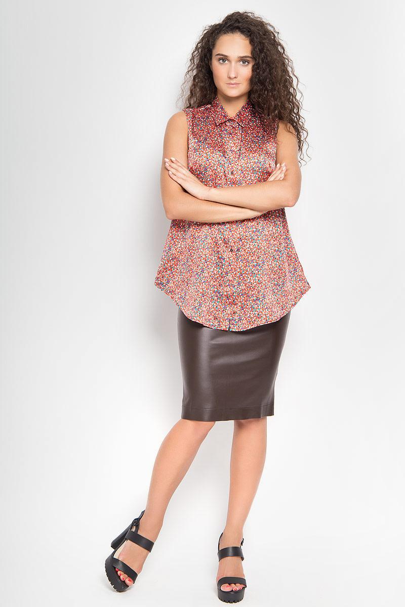 1202642_54Стильная блузка Ruxara, выполненная из микрофибры, поможет создать отличный современный образ в стиле Casual. Модель с отложным воротником и без рукавов спереди застегивается на пуговицы. Изделие оформлено оригинальным принтом. Такая блузка поможет создать яркий и привлекательный образ, в ней вам будет удобно и комфортно.