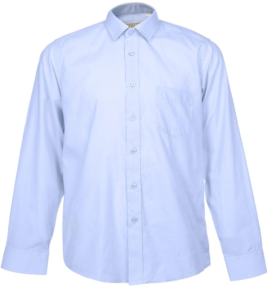 РубашкаDream BlueСтильная рубашка для мальчика Tsarevich идеально подойдет для школы. Изготовленная из хлопка с добавлением полиэстера, она необычайно мягкая, легкая и приятная на ощупь, не сковывает движения и позволяет коже дышать, не раздражает даже самую нежную и чувствительную кожу ребенка, обеспечивая ему наибольший комфорт. Рубашка классического кроя с длинными рукавами и отложным воротничком застегивается на пуговицы, на груди она дополнена небольшим накладным кармашком. Рукава имеют широкие манжеты, также застегивающиеся на пуговицу. Такая рубашка - незаменимая вещь для школьной формы, отлично сочетается с брюками, жилетами и пиджаками.