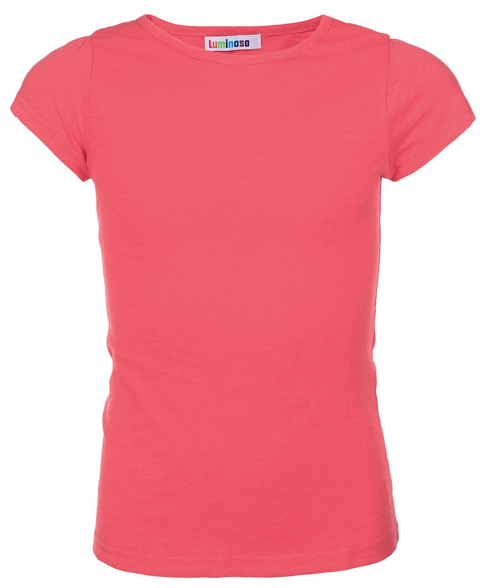 Футболка для девочки. 195858195858Яркая футболка для девочки Luminoso, выполненная из натурального хлопка, отлично подойдет юной моднице. Изделие очень мягкое и приятное на ощупь, не сковывает движения и позволяет коже дышать, обеспечивая наибольший комфорт. Однотонная футболка с круглым вырезом горловины и короткими рукавами имеет слегка приталенный силуэт. Дизайн и расцветка принесут удовольствие от покупки и подарят отличное настроение обладательнице такой футболки!