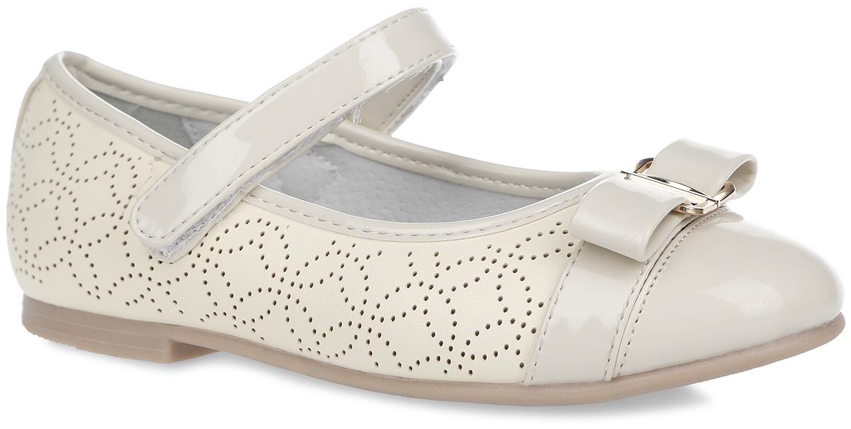Туфли для девочки. 10392-9/10391-2/10390-810390-8Красивые туфли Зебра очаруют вашу девочку с первого взгляда! Верх модели выполнен из искусственной кожи и лака. Внутренняя поверхность туфель изготовлена из натуральной кожи. Стелька из материала ЭВА с поверхностью из натуральной кожи дополнена супинатором с перфорацией, который обеспечивает правильное положение стопы ребенка при ходьбе и предотвращает плоскостопие. Модель с невысоким широким каблуком оснащена ремешком с застежкой-липучкой, который отвечает за надежную фиксацию на ноге. Подошва имеет рельефную поверхность. Изделие оформлено перфорированным рисунком, украшено декоративным ремешком с бантом и металлической пряжкой на мыске. Элегантные туфельки внесут изысканные нотки в образ вашей маленькой модницы.