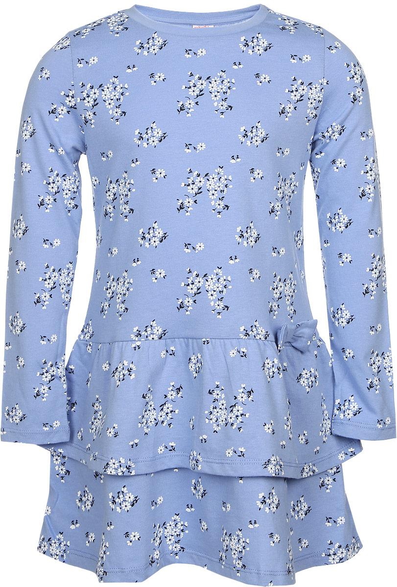 Платье для девочки. DK-517/113-6321DK-517/113-6321Платье для девочки Sela идеально подойдет вашей маленькой моднице и станет отличным дополнением к летнему гардеробу. Изготовленное из натурального хлопка, оно мягкое и приятное на ощупь, не сковывает движения и позволяет коже дышать, не раздражает нежную кожу ребенка, обеспечивая наибольший комфорт. Платье с длинными рукавами и круглым вырезом горловины оформлено цветочным принтом. Юбка с воланами придает изделию воздушность. По талии модель дополнена оригинальным бантиком. Вырез горловины обработан трикотажной бейкой. В таком платье ваша принцесса будет чувствовать себя комфортно, уютно и всегда будет в центре внимания!