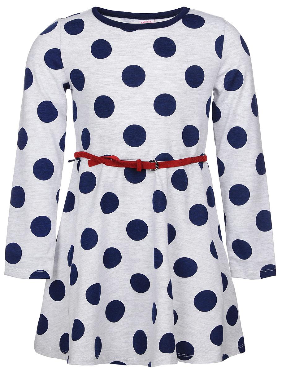 Платье для девочки. DK-517/126-6321DK-517/126-6321Красивое платье для девочки Sela станет отличным дополнением к гардеробу вашей маленькой модницы. Изготовленное из хлопка с добавлением полиэстера, оно мягкое и приятное на ощупь, не сковывает движения и позволяет коже дышать, обеспечивая наибольший комфорт. Платье с круглым вырезом горловины, длинными рукавами и пришивной расклешенной юбкой. Модель оформлена принтом в крупный горох. Платье дополнено тоненьким текстильным пояском. В таком платье маленькая принцесса всегда будет в центре внимания!