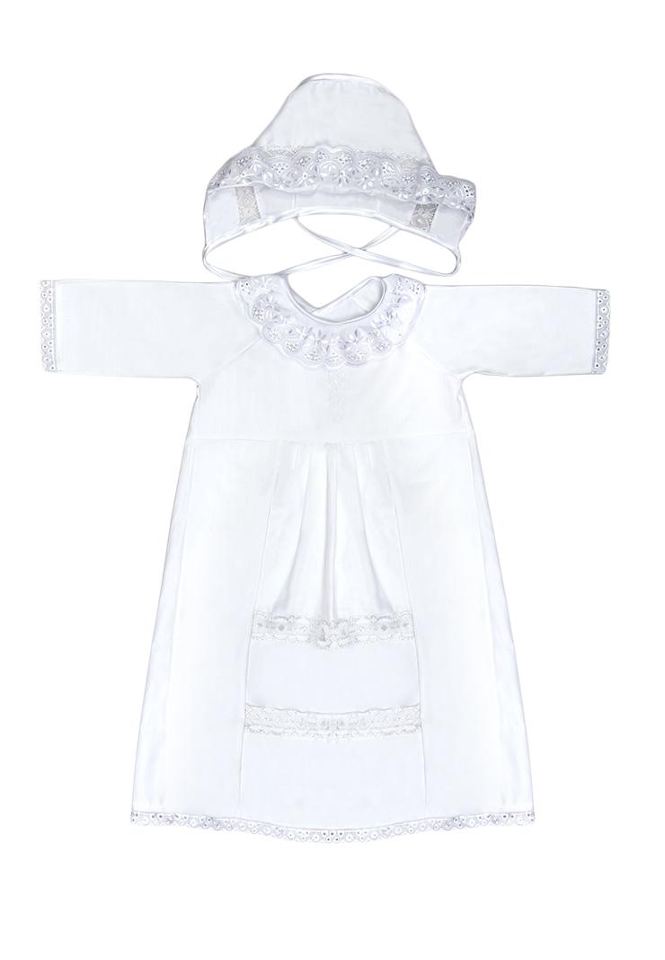 Крестильный набор12/0Крестильный набор для девочки Сонный Гномик включает в себя удлиненную крестильную рубашку с запахом на спинке, пеленку, чепчик и мешочек. Все элементы набора выполнены из натурального хлопка. Крестильная рубашка фиксируется при помощи двух кнопок на спинке. Модель с длинными рукавами-реглан оформлена кружевными вставками и вышивкой в виде креста на груди. Пеленка также отделана кружевом по краю и украшена вышивкой. Чепчик украшен кружевом и имеет завязки из атласных лент. Мешочек дополнен шнурком-кулиской.