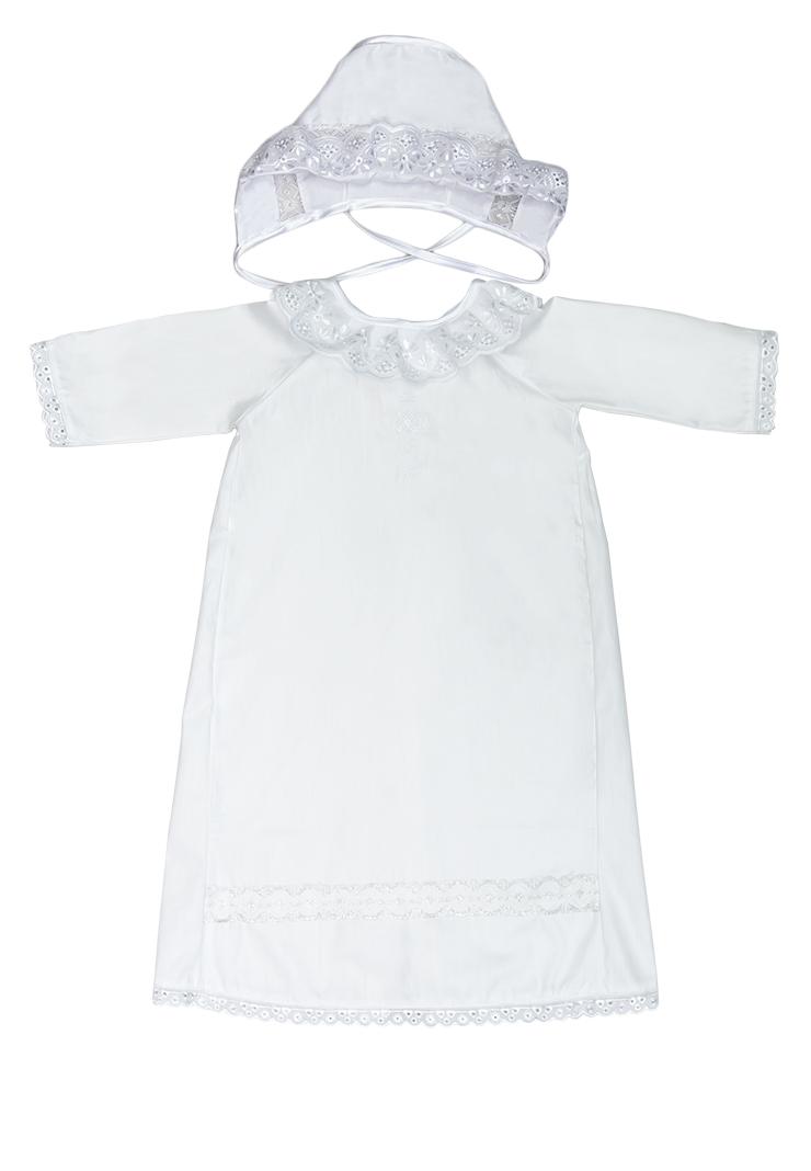 13/0Крестильный набор для мальчика Сонный Гномик включает в себя удлиненную крестильную рубашку с запахом на спинке, пеленку, чепчик и мешочек. Все элементы набора выполнены из натурального хлопка. Крестильная рубашка фиксируется при помощи двух кнопок на спинке. Модель с длинными рукавами-реглан оформлена кружевными вставками и вышивкой в виде креста на груди. Пеленка также отделана кружевом по краю и украшена вышивкой. Чепчик украшен кружевом и имеет завязки из атласных лент. Мешочек дополнен шнурком-кулиской.