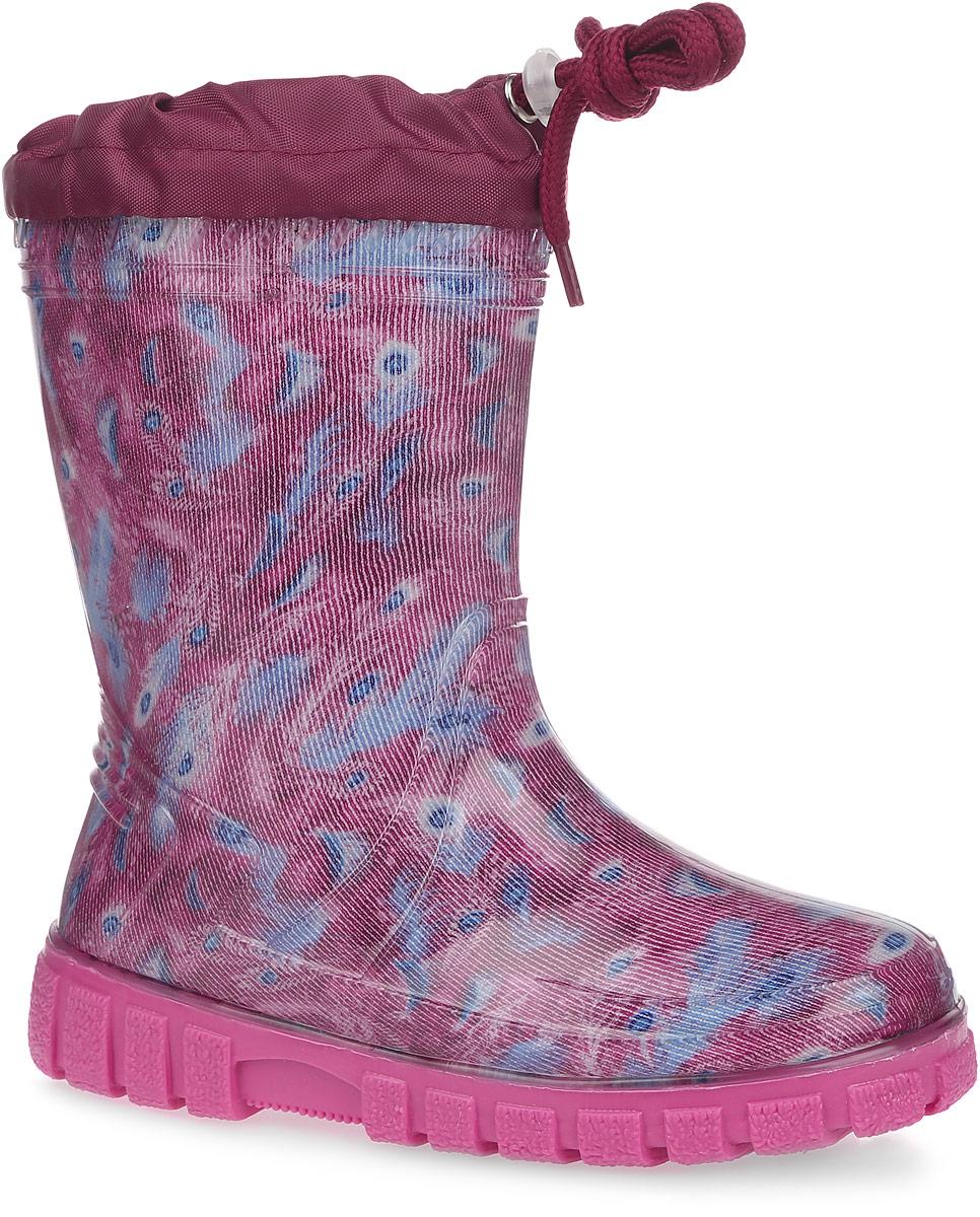 Сапоги резиновые для девочки. 10743-910743-9Яркие резиновые сапожки от Зебра - идеальная обувь в дождливую погоду для вашей девочки. Верх модели выполнен из ПВХ и оформлен оригинальным принтом. Текстильный верх голенища регулируется в объеме за счет шнурка со стоппером. Внутренняя поверхность из текстиля и съемная стелька из войлока комфортны при движении. Подошва с протектором гарантирует идеальное сцепление с любой поверхностью. Стильные и практичные резиновые сапожки прекрасно защитят ножки вашего ребенка от промокания в дождливый день.