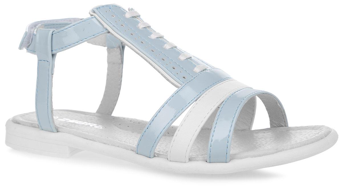 Босоножки для девочки. 10388-610388-6Чудесные босоножки от Зебра придутся по душе вашей девочке. Модель выполнена из искусственной кожи и оформлена на подъеме перфорированными вставками и декоративным шнурком. Внутренняя часть и стелька изготовлены из натуральной кожи. Стелька дополнена небольшим супинатором, который обеспечивает правильное положение ноги ребенка при ходьбе, предотвращает плоскостопие. Ремешок с застежкой-липучкой прочно закрепит модель на ножке. Подошва выполнена из гибкого, не скользящего материала, устойчивого к истиранию и перепадам температур. Практичные и стильные босоножки займут достойное место в гардеробе вашей малышки.