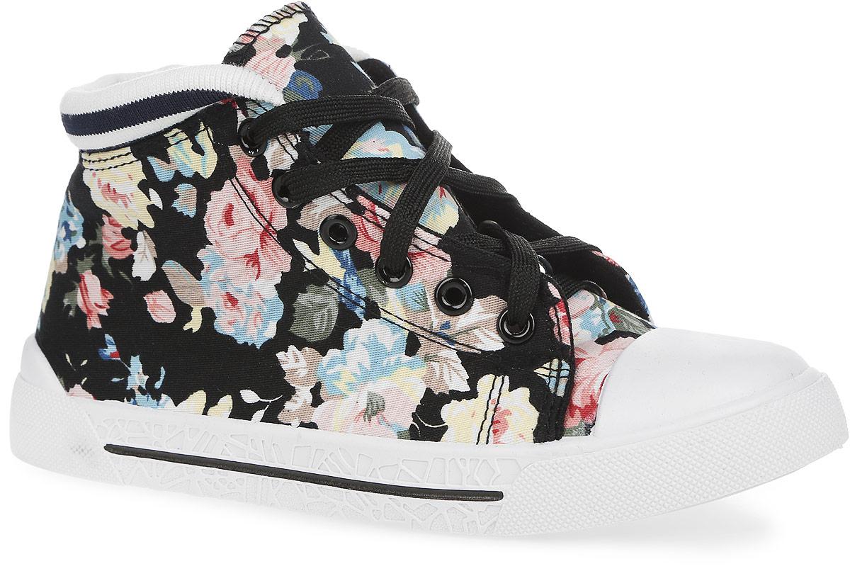 Кеды для девочки. 5-030TF5-030TFСтильные кеды от Зебра придутся по душе вашей дочурке! Модель выполнена из плотного текстиля, оформлена цветочным принтом, на подошве - контрастной полоской и оригинальным рельефом. Задник по краю дополнен эластичным трикотажем. Функциональная шнуровка обеспечивает идеальную фиксацию обуви на ноге. Внутренняя поверхность из текстиля и рельефная стелька из материала ЭВА с поверхностью из натуральной кожи комфортны при движении. Стелька дополнена супинатором с перфорацией, который обеспечивает правильное положение ноги ребенка при ходьбе и предотвращает плоскостопие. Мыс изделия дополнен классической для кед прорезиненной вставкой. Рельефная подошва из ПВХ обеспечивает идеальное сцепление с различными поверхностями. Модные и практичные кеды - основа гардероба каждого ребенка.