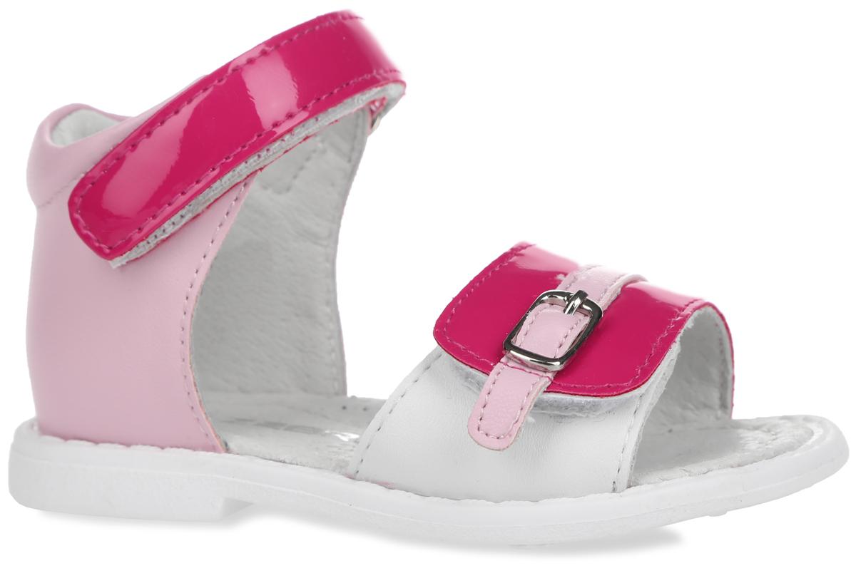 Сандалии для девочки. 10379-410379-4Замечательные сандалии от Зебра, выполненные из искусственной кожи, придутся по душе вашей девочке. Подкладка выполнена из натуральной кожи, что предотвращает натирание и гарантирует уют. Стелька из ЭВА материала с поверхностью из натуральной кожи оснащена небольшим супинатором с перфорацией, который обеспечивает правильное положение ноги ребенка при ходьбе и предотвращает плоскостопие. Ремешки с застежками-липучками позволяют прочно зафиксировать ножку ребенка. Нижний ремешок декорирован металлической пряжкой. Подошва с рифлением обеспечивает идеальное сцепление с любыми поверхностями. Такие сандалии подойдут для прогулок в жаркую погоду!